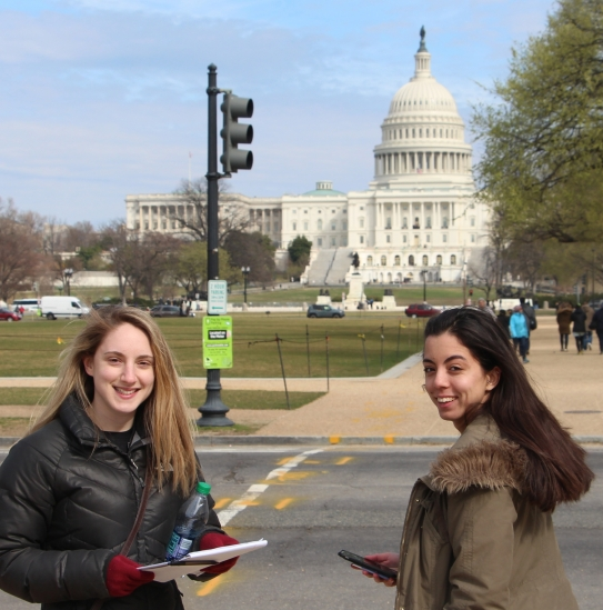 Rutgers students conducting Person on the Street Survey in the National Mall